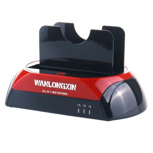 "WANLONGXIN Hdd Docking Station, WLX-875U3 2.5""3.5"" Dual Slots USB 3.0 SATA IDE HDD Docking Station (US Plug)"