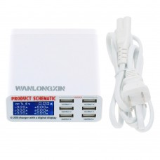 WANLONGXIN WLX-899 USB Charger Portable Multi USB Port Rapid Charger 6 Port USB Socket Fast Charger with LCD Display and Auto Detect Technology for Iphone Samsung Cell Phones and Tablets