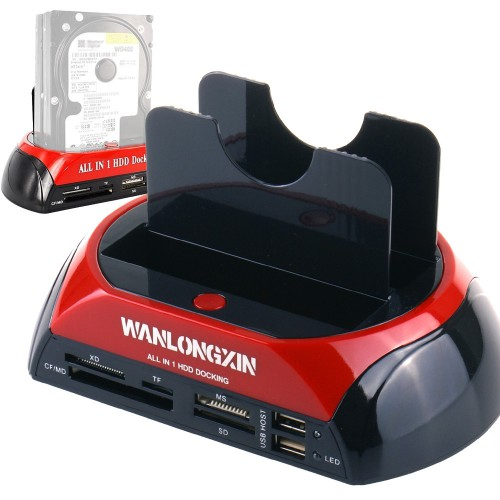 "WANLONGXIN WLX-875J All in 1 2.5""3.5"" Dual Slots USB2.0 SATA IDE HDD Docking Station Card Reader (US Plug)"